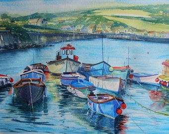 SALE Original watercolor, seascape painting, Cornwall art, boats in harbour, Coverack, watercolour of boats, cornish harbour scene