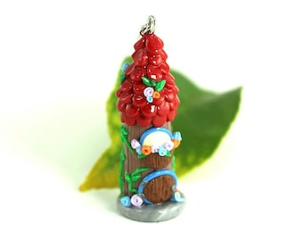 Miniature Fairy House, Faerie Cottage Whimsy Whimsical Fantasy Christmas Ornament Garden Woodland Forest Gnome Cell Phone Charm