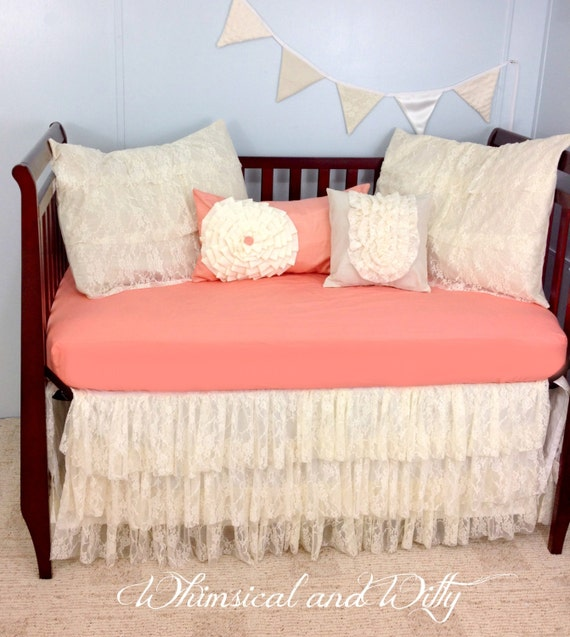 Baby Bedding Crib Bedding Shabby Chic Salmon by WHIMSICALandWITTY