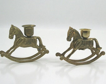 Brass Rocking Horse Candle Holders