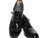 Vintage 1930s Shoes Black Patent Leather Tie Steampunk Hollywood  Art Deco Art Nouveau Couture Bombshell Garden Party Gibson Girls Black