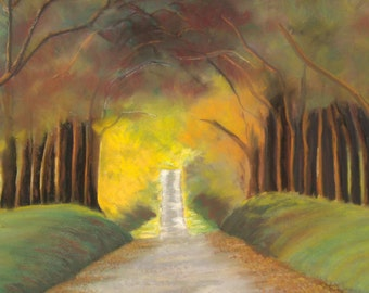 Large Pastel Drawing Peaceful Path