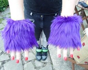 One Luxury Pair of Purple Furry Wrist Cuffs Wristlets Cute Cosy Cosplay Elasticated Winter