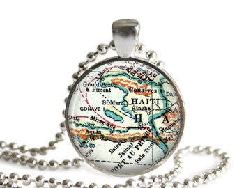 Haiti necklace pendant map charm, Haitian jewelry, picture pendant, art photo pendant, Haiti map necklace, adoption gift, A149