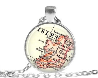 Ireland map jewelry, Irish necklace pendant charm, Irish pendant, Ireland jewelry, Irish charms, available as irish keychain, gift idea