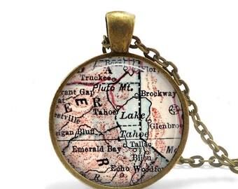 vintage Lake Tahoe map pendant, map pendant charms, map resin pendant, California jewelry - A110