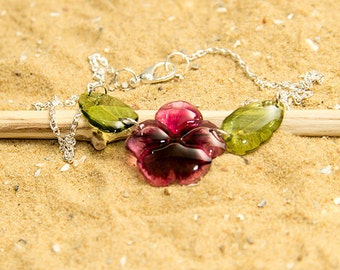 Pink pansy flower with leaves necklace. Comes in a gift box