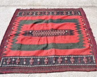 Vintage Tribal Sofra Kilim -- 4 ft. 8 in. by 4 ft. 6 in.