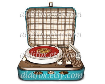 Retro, Vintage Turntable, Record Player - Printable Digital Illustration for DOWNLOAD- Clipart ( 12x12 or 8x10). Item number S0106