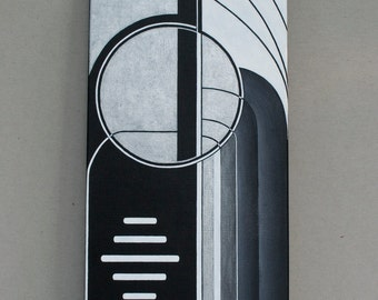 Art Deco style black, white and silver minimalist  original Acrylic Painting titled Streamlined