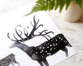 Deer art, Black and white print, Deer Wall art, Large home decor, Art print, Woodland decor, Nursery, Fall decor