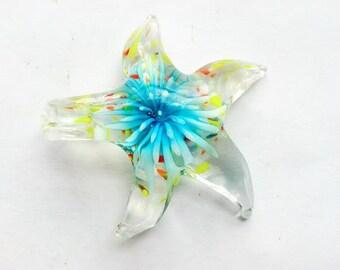 Glass Lampwork Starfish Pendant Aqua Turquoise Jewelry Supplies Charm Suncatcher