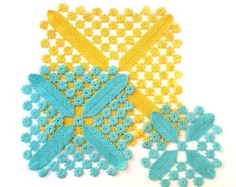Yellow And Turquoise  Lace Doilies, Bedroom Decor, Wall Decor