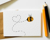 Note cards pack of 6, Bee notecards, Greeting card 6 Pack, Thank You note card set, Pary invitations