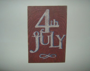 Distressed vintage look 4th of July sign/Red white blue/holiday/Americana