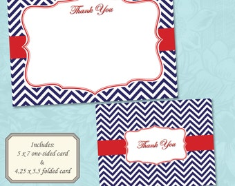 Navy Blue and Red Chevron Nautical Themed Thank You Card - Instant Digital Download (Print Your Own)