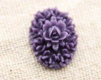 12 pcs of resin floral cameo 13X18mm-RC0226-purple