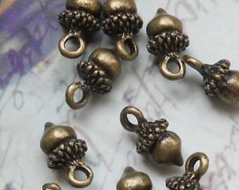 12 pcs of acorn charms 12x8mm-1223-antique bronze
