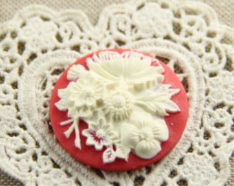 12 Pcs of Resin flower cabochon 35mm-RC0426-red