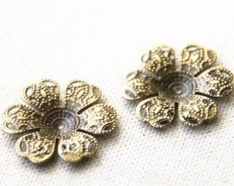 48 pcs of iron filigree flower charm -25mm-1618-antique bronze