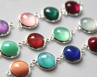 24 pcs of brass two loop setting charm with sparkle shinny resin cameo 12mm-1932 mix color