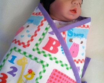 Purple Patchwork Kimono Baby Swaddle