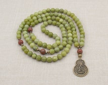 Serpentine Mala Beads - Quan Yin Pendant - Buddhist Mala - 108 Prayer Beads - Item # 936
