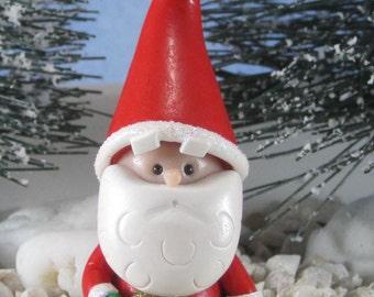 Santa Gnome for Christmas Fairy Garden or Cake Topper OOAK ornament handmade miniature