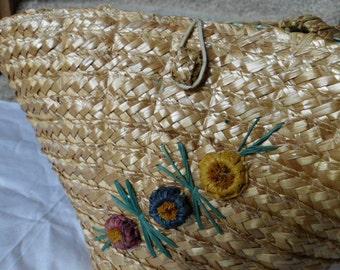 Vintage Italian straw basket tote beachbag plant holder with flower design, waterproof lining