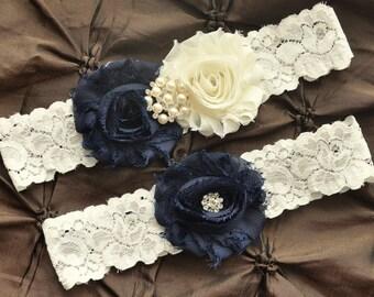 Wedding Garter Set, Bridal Garter Belt - Ivory Lace Garter, Keepsake Garter, Toss Garter, Shabby Navy Wedding Garter, You Pick Colors