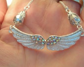Silver plated engraved ANGEL WING pendant w aurora borealis CRYSTAL & swarovski crystal bead ornated chain