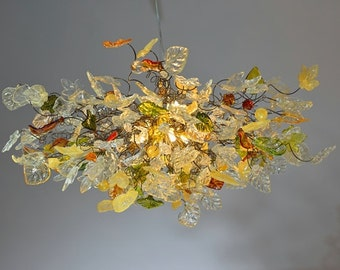 Chandelier with Champagne color flowers & leaves - hanging Chandelier for living room, dinning room or bedroom.