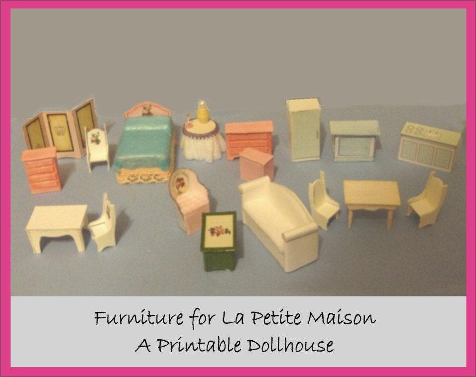 Printable craft kit miniature furniture for la petite maison for A la maison furniture
