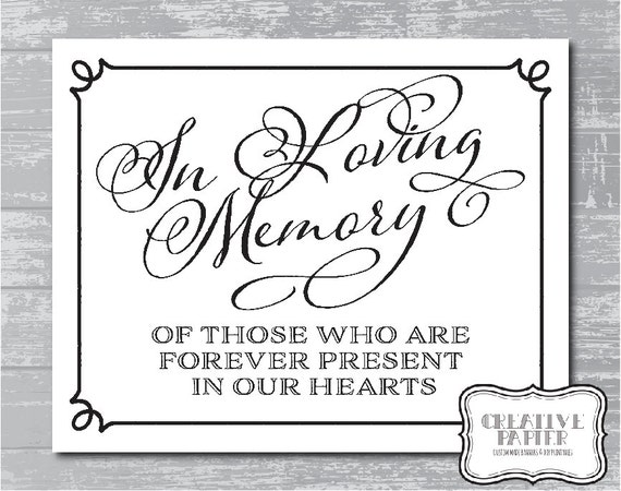 Instant download in loving memory sign 8x10quot diy wedding poster printable by creative papier for In loving memory free printable