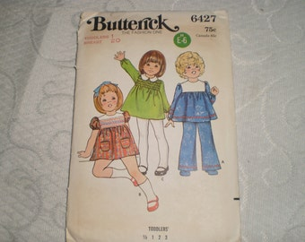ButterickToddler  Clothing Pattern for Fitted Dress and Pant Size 1/2-3