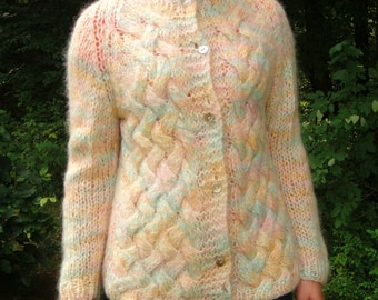 1960's BENATTI Pastel Wool Woven Knit Sweater. Cardigan. Handmade. Rainbow. Made in Italy. Size 36. Small