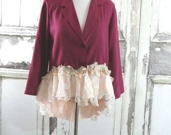 Romantic Purple  Pink Lace Jacket Vintage Lace Jacket Eco Clothing Shabby Chic Upcycled Clothing Large
