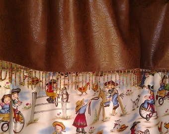 Lil Cowgirl Curtains with F aux Leather Valance with Beaded Trim