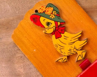Vintage Cute Wooden Duck Shopping Reminder Plaque Duckie with Hat Nursery Kitchen