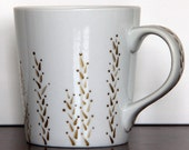 White Mug with Hand Painted Retro Wheat Design in Gold