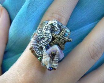 seahorse abalone ring seashells ring mermaid ring beach ring nautical ring  boho gypsy cruise wear resort wear  high fashion gypsy hipster