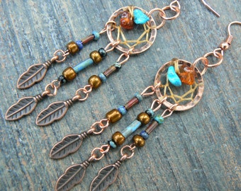 copper and dark turquoise dreamcatcher earrings turquoise czech beads cuff in boho gypsy hippie hipster and tribal fusion
