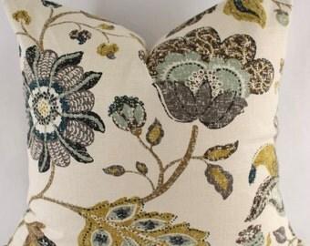 Decorator Pillow Cover - Throw Pillow - - Robert Allen - Spring Mix - Aloe - Floral - Mustard - Teal - Gray - Cream