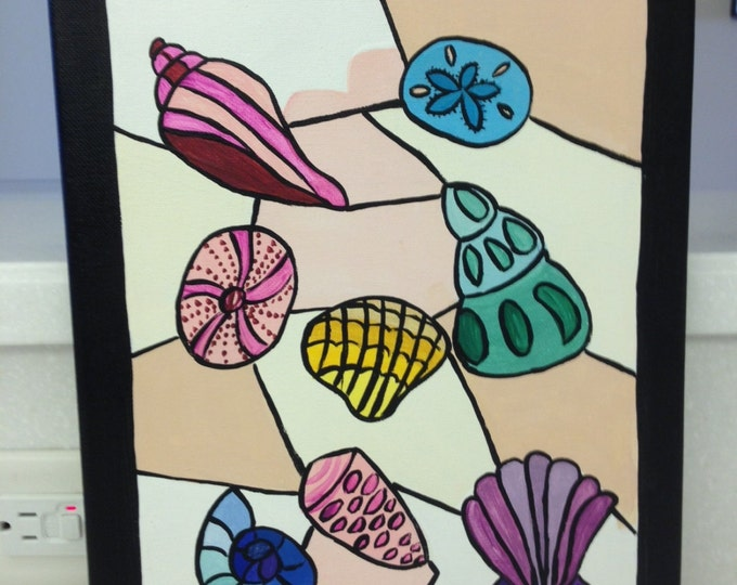 Mosaic Shells - 11 x 14 Acrylic Painting on Canvas - Finished on all 4 sides to look like Black Frame