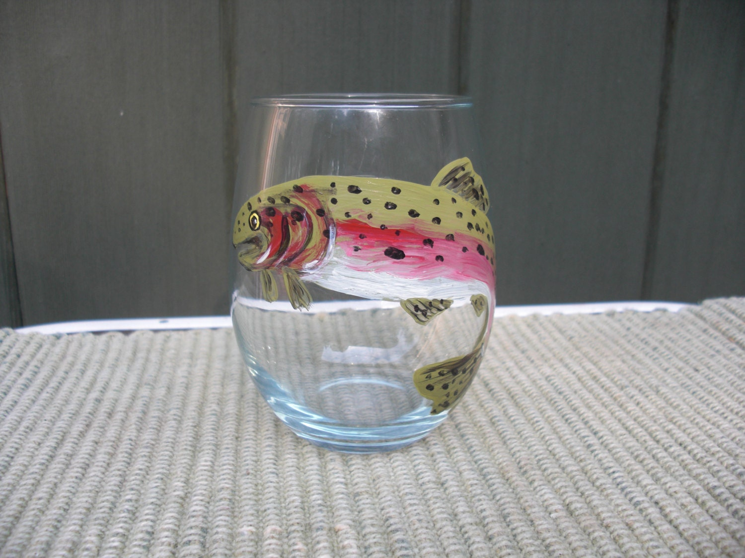 Hand painted stemless wine glass with trout image for Painted stemless wine glasses