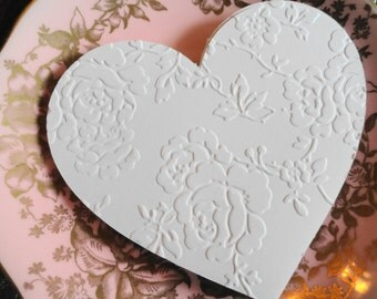 Victorian Embossed Lace Valentine Heart Die cuts Set of 12