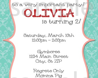 DIY Printable Olivia The pig Inspired  Invitation