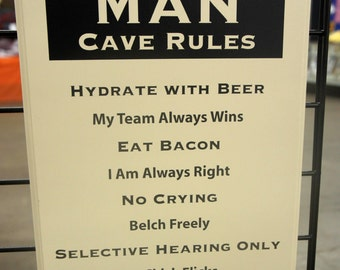 Man Cave Rules comical solid wood sign large Plaque with finished edge. 11x14 beer. team,no chic flicks or crying