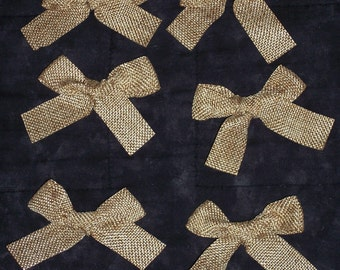 burlap ribbon bows,6/pkg,3.5 inches by 2 inches,crafting,wreaths,pre-tied bows,small