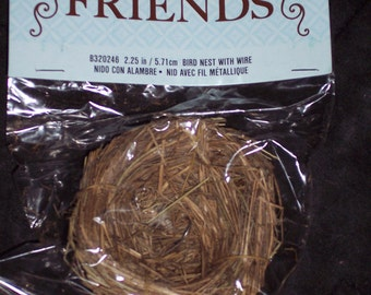 grass bird nest with clip,2.25 inch diameter,spring florals and crafts,wreath embellishment